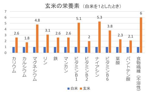 玄米の栄養素グラフ