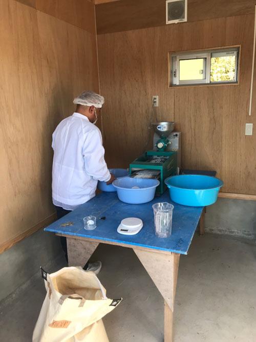 小麦粉を挽いている画像